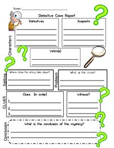 Detective Case Report-Story Map.  For use with mystery books.