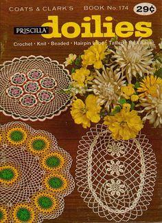 Coats Clark 174 Priscilla Doilies Crochet Knit Beaded Hairpin Tat Patterns 1967 #CoatsandClark #CrochetPatterns