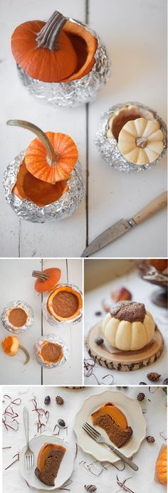 How To Bake A Cake Inside A Pumpkin - I've seen dinner in a pumpkin traditions and now there's cake in a pumpkin. cool.