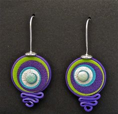 Psychedelic purple and green (looks like) polymer clay earrings . tatana's flicker