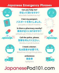 Japanese Emergency Phrases!   Learn Japanese with more infographic and pictures for FREE, just click here!