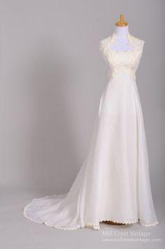 1960's Chiffon & Lace Empire Vintage Wedding Gown .. oooooooou perrrdy