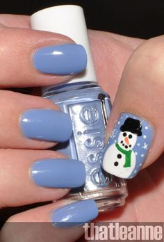 Love that snowman... wonder how he would look on a darker blue polish though?