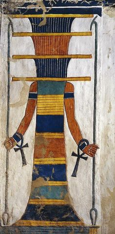 """Scene from the """"House of Eternity"""" of Queen Nefertari, Valley of the Queens, QV66, west 'Uaset'-Thebes: personified 'Djed'-pillar (sacred to the God Osiris) with two 'Ankh'-signs on the wrists and flanked by two 'Uas'-scepter. On the top, the hieroglyphic symbol for """"Sky"""". via tumblr.com"""