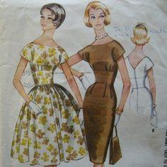 Etsy :: Empresspatterns :: EASY 60s Sheath or Full Skirt Dress Pattern, McCall's 5668, Size 13, Bust 33