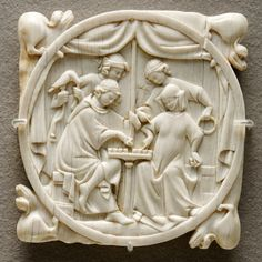 A couple playing chess, carved mirror case, c. 1300; Paris, France