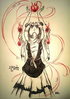 Day 10: My original character Sepharat, the half blood inniyah of wind and fire, for #INKtober 2014.