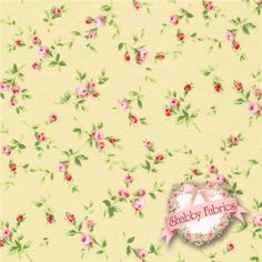 """Floral Collection 30743-50 by Lecien : Floral Collection is a collection by Lecien.  100% cotton.  43/44"""" wide.  Made in Japan.  This fabric features small pink rose sprigs tossed on a yellow background."""