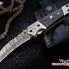 damascus handmade hunting knife(folding liner lock)buffalo horn handle