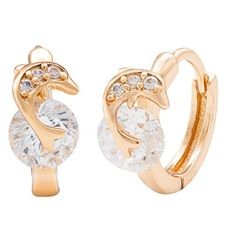 "Romantic Time ""Dolphin Lover"" Diamond Studded 18k Rose Gold French-back Hoop Earrings - http://www.jewelryfashionlife.com/romantic-time-dolphin-lover-diamond-studded-18k-rose-gold-french-back-hoop-earrings/"