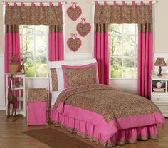Sweet Jojo Designs Cheetah Pink Collection 3pc Full/Queen Bedding Set
