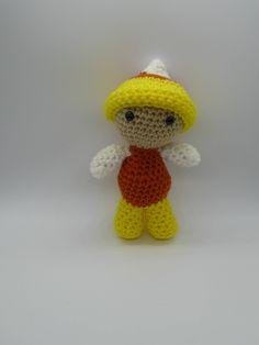 Candy Corn Doll, Halloween Doll, Amigurumi Doll, Crochet Doll, Amigurumi Doll, Weebee Doll in Candy Corn Outfit, Cute Halloween Doll by AlexsGiftShop on Etsy