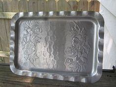 Hammered Aluminum Vintage Tray, Embossed With Flowers, Fluted Edges, Home Decor, Kitchen Serving Piece by Junkblossoms on Etsy