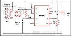 Touch ON and OFF Switch Circuit Diagram. Get complete information about this circuit at http://www.electronicshub.org/touch-on-and-off-switch-circuit/