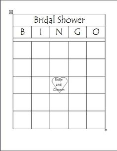 Free Printable Bridal Bingo Template | Bridal Shower Bingo