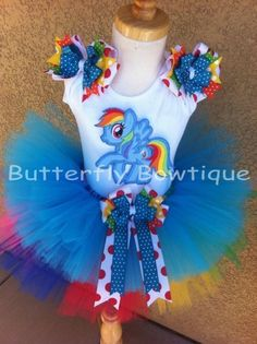 Rainbow Dash My Little Pony TuTu Set TuTu Outfit 1st 2nd 3rd 4th Birthday Outfit