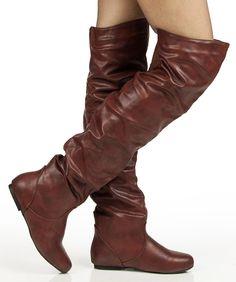 cdbd473e32813c Room Of Fashion Vickie Hi Vegan Slouchy Elastic Knee High Boot WINE PU
