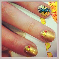 Marvel-ous comic book inspired nails at #ASOS HQ. Zung!! #ironman3 #Padgram