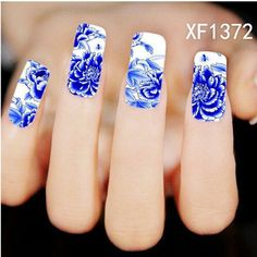 New Nail Art Full Cover Blue Flower Stickers by HighClassNailsss