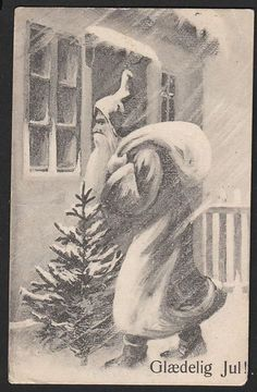 Glædelig jul! 1908 Danmark Postkort Brugt m mærke