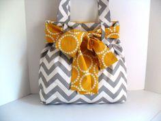 Reserved for Emma Dobbs Large Bow Handbag Made of Chevron  Fabric