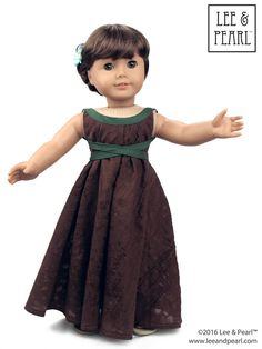 We made this glamorous, Empire waist gown for our American Girl doll using Lee & Pearl Pattern 1032: Desert Sunrise Top or Maxi Dress for 18 inch dolls, and the free tweak-the-pattern adaptation in our June 2016 newsletter. Get the tweak — which also includes a trendy high-low handkerchief hem version — in our Newsletter Archive at http://www.leeandpearl.com/newsletters.html. And find Pattern 1032 in our Etsy shop at…