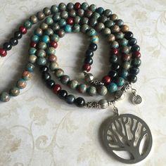 Bois de santal grand ciel jaspe, oeil de tigre bleu AAA, argent sterling, 108 perle japa mala méditation perles, collier, arbre de vie, pierre précieuse