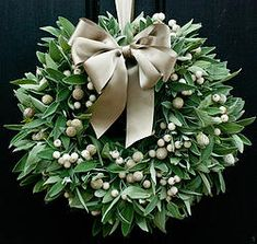 This simple yet elegant Christmas door wreath boasts a wonderfully scented bundle of fresh sage, teamed with white frosted and brunii berries. Christmas Door Wreaths, Christmas Flowers, Elegant Christmas, All Things Christmas, Winter Christmas, Christmas Holidays, Christmas Crafts, Winter Wreaths, Christmas Shopping