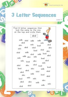 "In the ""3 Letter Sequences"" worksheets, the student must find 10 of the same sequence as the one at the top of the page.  This file contains 10 worksheets.  Visual Perceptual Skills Addressed:  Spatial Relationships  Spatial Relationships perception is the ability to identify the position of two or more visual stimuli in relation to oneself and/or in relation to each other.  In the ""3 Letter Sequences"" worksheets, the student must analyze how the letters relate to each other (analyze their…"