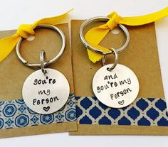 You're My Person Keychain Keychain Set Hand by UniquelyImprint