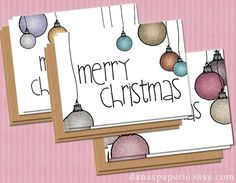 Set of 6 Christmas cards - hand-drawn cards from Dana's Paperie