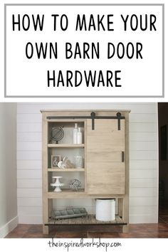 Cheap and Easy DIY Barn Door Hardware : DIY Barn Door Hardware - This tutorial will show you how to save money and create your own barn door hardware any size you need! I used this method to create the barndoor bookcase that is in the picture! Barn Door Cabinet, Sliding Cabinet Doors, Sliding Door Hardware, Sliding Barn Door Hardware, Barn Door Bookcase, Bookshelf Plans, Bookshelf Design, Cheap Barn Door Hardware, Cheap Barn Doors
