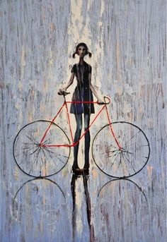 2009 Original Oil painting print on canvas, Rolled CanvasPrint, Girl and her bike on Etsy Bicycle Painting, Bicycle Art, Bicycle Design, Bicycle Illustration, Illustration Art, Art Illustrations, Painting Prints, Canvas Prints, Oil Paintings