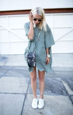 dress and cross body bag with sneakers