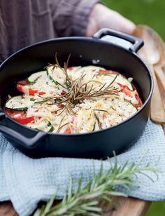 Resepti: Tomaatti-kesäkurpitsagratiini Risotto, Meat, Chicken, Dinner, Ethnic Recipes, Food, Meal, Suppers, Eten