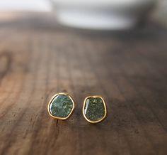 Rough Diamond Stud Earrings  Gemstone Studs Diamond Studs by LUSIX