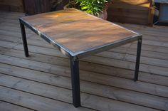 Table basse industriel #bois #acier #sur-mesure www.brundacier.fr