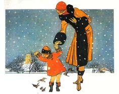 i very much heart vintage illustration Old Christmas, Vintage Christmas Cards, Retro Christmas, Christmas Images, Vintage Holiday, Antique Christmas, Xmas, Art Deco Illustration, Christmas Illustration