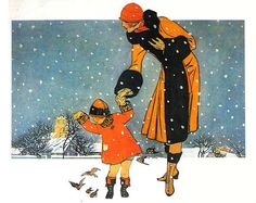 "1920's ~ Vintage Christmas Card .... ""Feeding the Birds"" .... Unknown Artist ...."