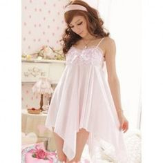 $9.73 Alluring and Charming Scale Style Bowknot Lace Irregularity Hem Imitated Silk Braces Nightgown For Women