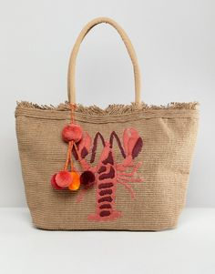 47e764e0be America   Beyond Hand Embroidered Lobster Structured Beach Bag