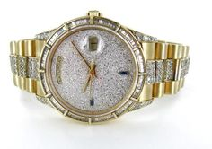 GENTS ROLEX 18KT YELLOW GOLD PRESIDENT 18238 PAVE DIAMOND DIAL BEZEL & BAND  $14,750.00