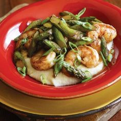 This dish is a quick riff on the Southern classic Shrimp and Grits. Don't skimp on the Worcestershire; mellowed with butter, it makes a simple yet savory sauce for the shrimp and asparagus. For best flavor, use wild-caught shrimp.