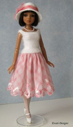 Ellowyne, OOAK Outfit in white and pink by *evati* via eBay ends 4/2/14