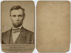 Title: Abraham Lincoln.   Creator: Gardner, Alexander, 1821-1882   Date: 1864  Part Of: Alexander Gardner cartes de visite and portraits    Notes: Original glass plate negative by Alexander Gardner; later print by Moses Rice.