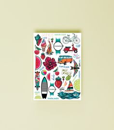 This is how TAADA.AADA gives summer vibes - through ice-creams, long boards, blooms, water, sun and summery vehicles. We want you to feel that summer is the time to load your batteries and sticking our summer vibe tattoo on your skin for a few days is one way to do it! This tattoo sheet has 41 beautiful and colourful tattoos.  Have a look at #taadaaada for more pictures and inspiration  Specially designed by Kristiāna Kalniņa  Instagram: @_kkristiaana