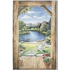 Trample L'Oiel Log Cabin Doorway Accent With View Mural #littlecabin