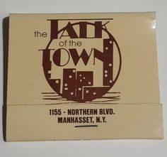 Manhasset Long Island NY. Reverse strike matchbook. 1155 Northern Blvd. The Talk of The Town. | eBay!