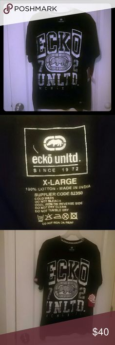 Mens black shirt Men's short sleeve T-shirt XL black Eco (name brand) shirt new, never been worn , with whit print Ecko Unlimited Shirts Tees - Short Sleeve