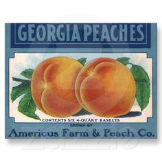 Shop Vintage Fruit Crate Label Art, Georgia Peaches Poster created by YesterdayCafe. Personalize it with photos & text or purchase as is! Vintage Labels, Vintage Signs, Vintage Ads, Vintage Posters, Vintage Food, Retro Ads, Vintage Ephemera, Vintage Advertisements, Vintage Prints